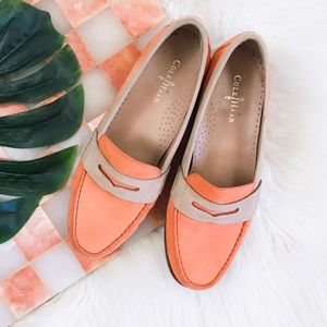 Cole Haan Orange & Taupe Leather Loafer Shoes